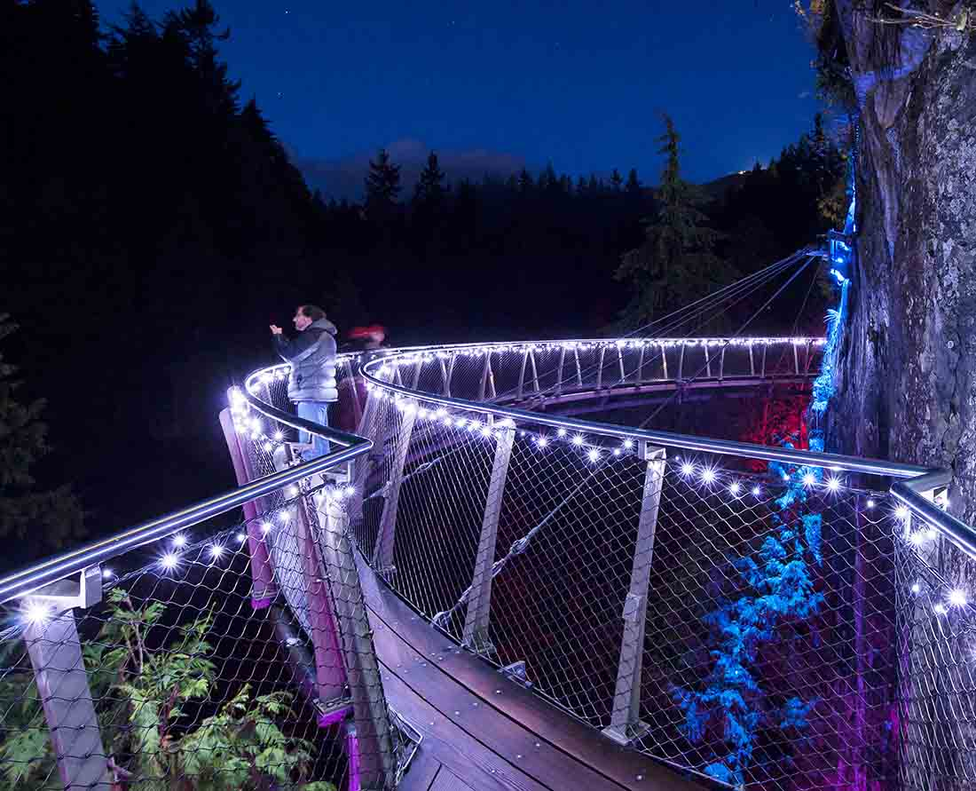 Canyon Lights at Capilano Suspension Bridge. Take a walk on the u-shaped bridge one of the best Vancouver holiday events