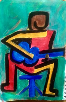 Yellow and red guitarist