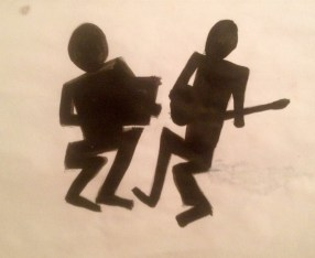 Musicians Silhouette on White
