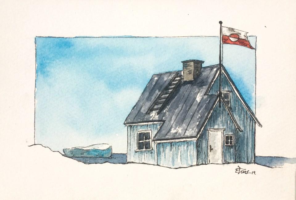 Aquarelle d'Emmanuelle d'une maison Groenlandaise