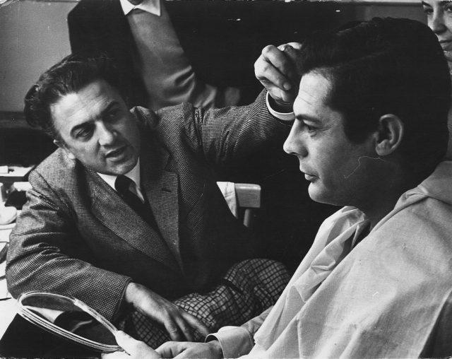 Mastroianni e Fellini sul set di La Dolce Vita