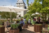 Chateau et Jardins du Rivau, Loire Valley, France, restaurant with guests