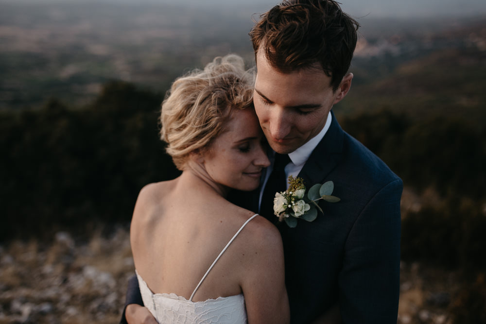 Emotional moment between bride and groom during their wedding in Luberon in Provence