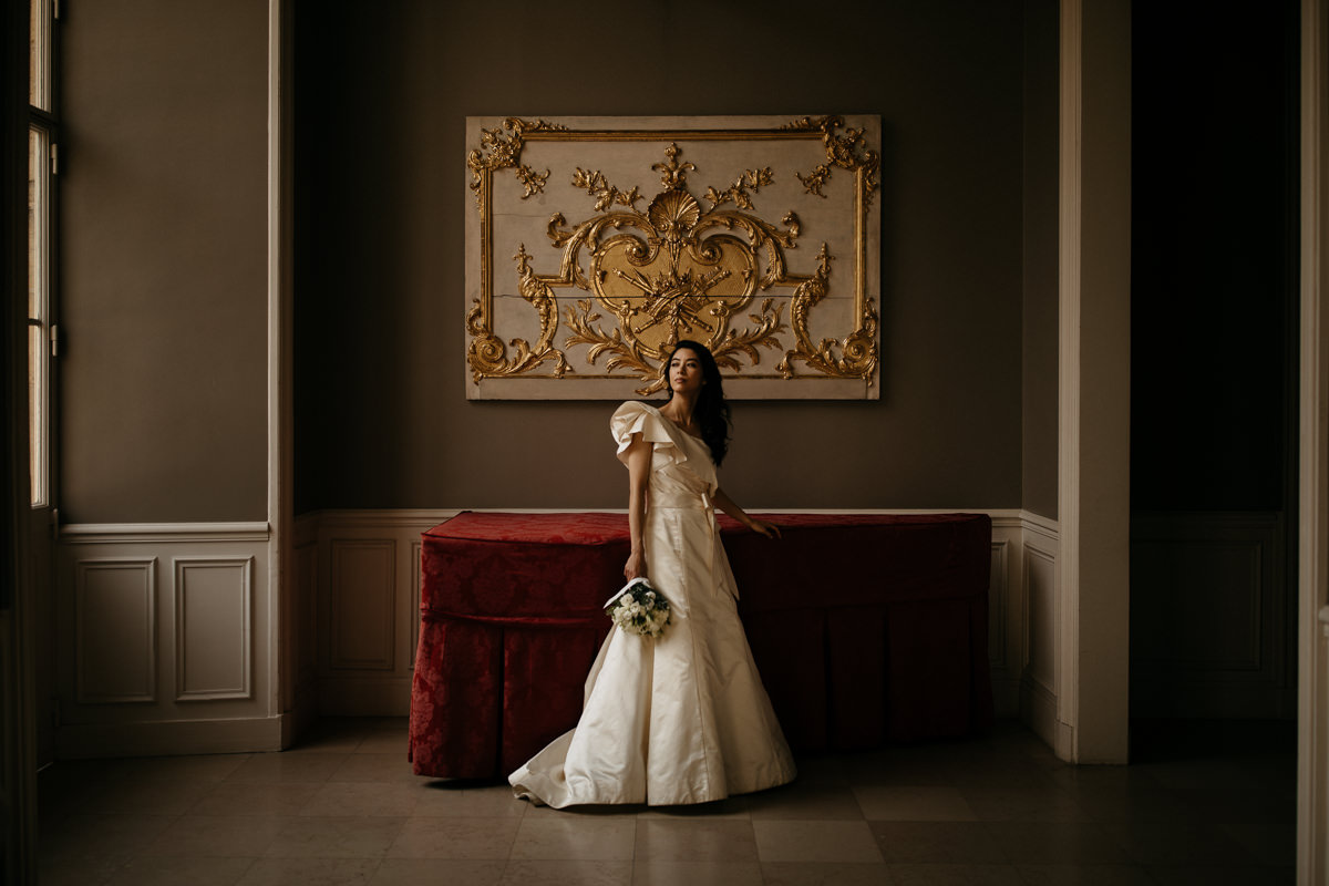 bride inside a mansion in Paris during her intimate elopement in France