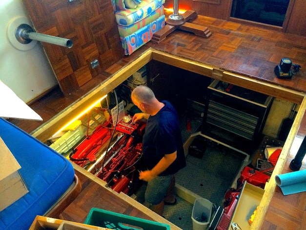 Dion helping with the tool chest