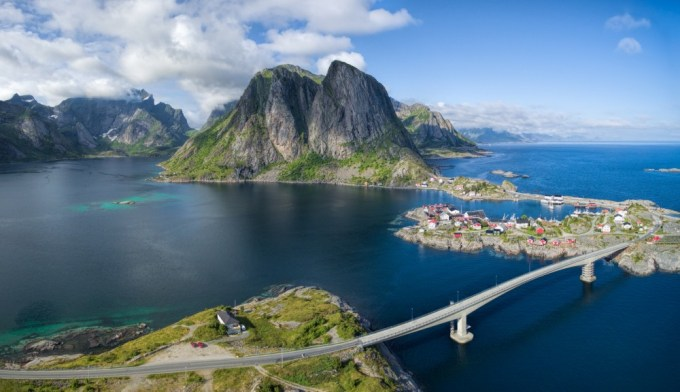 Scenic aerial panorama of fishing village Hamnoya on Lofoten islands in Norway, famous for its beautiful scenery