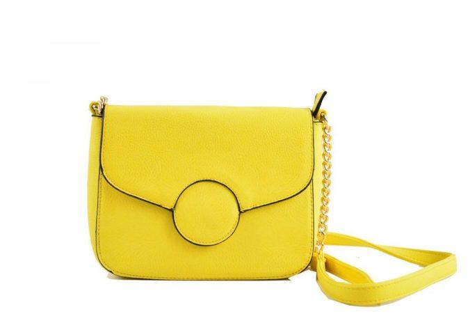 Tasche Gelb Leder Eckig