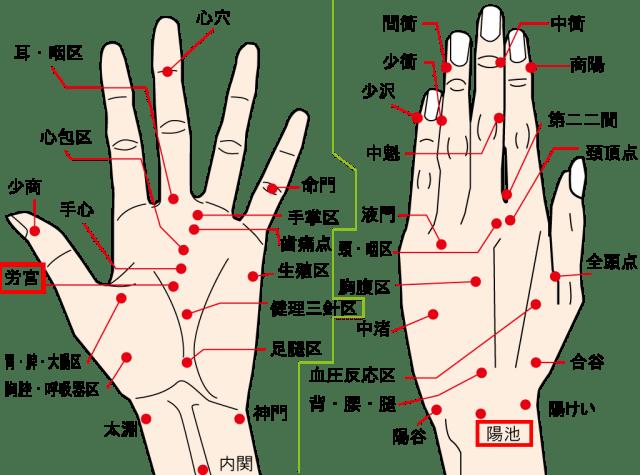 右肩と肝臓の不調疲れに効く手のツボ