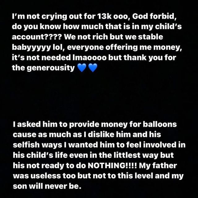 He Cannot Afford 13K For Balloons For His Child's Birthday - Singer, Lyta's Baby Mama Calls Him Out On Instagram For Being A Deadbeat Father