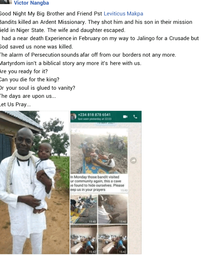 Bandits kill pastor and his 2-year-old son in Niger State