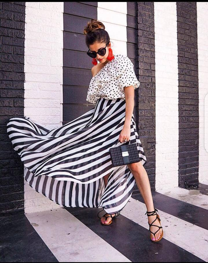 lady mixing different prints