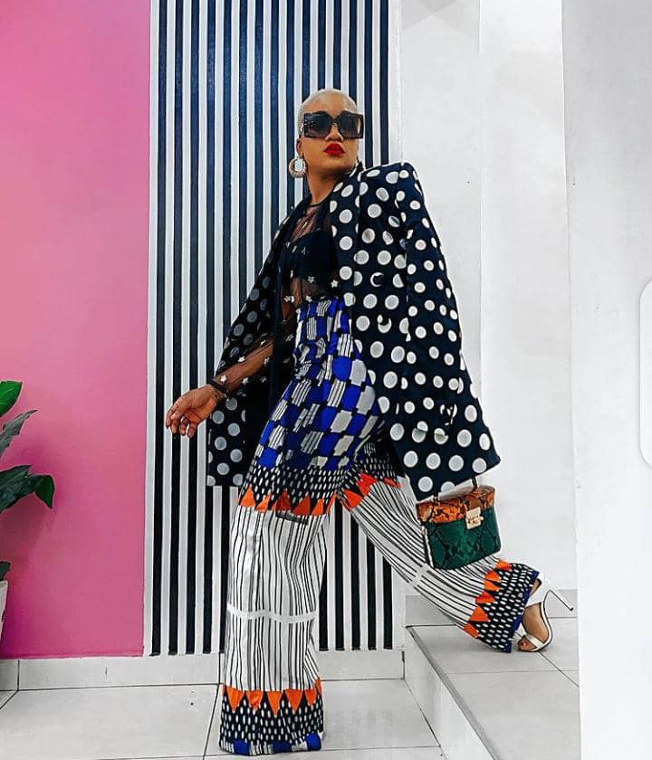 lady wearing polka dots with other prints