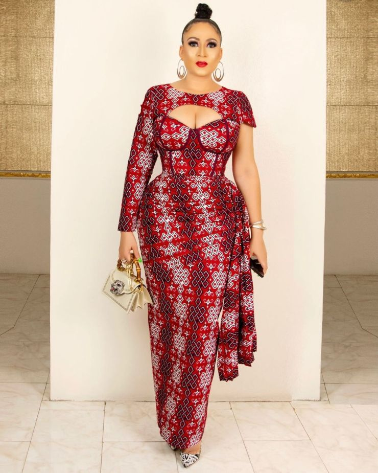 Long Dramatic Ankara Gown With Side Layers