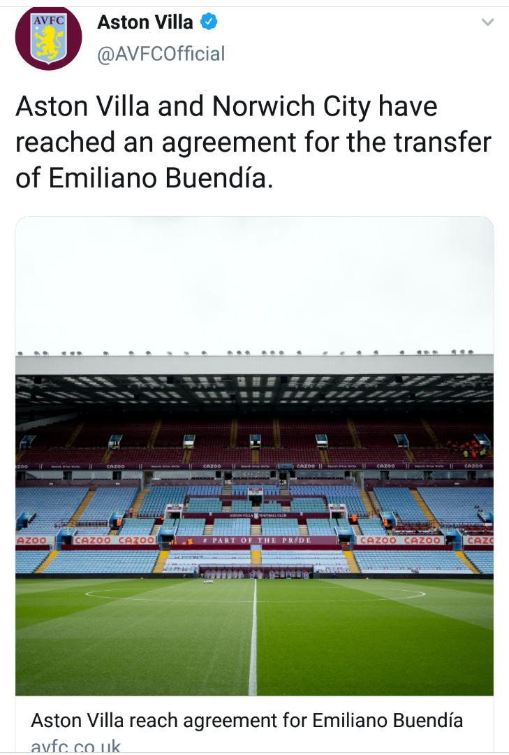 Arsenal misses out on Emiliano Buendia as Aston Villa agree club-record transfer fee of ?40m for the Argentine midfielder