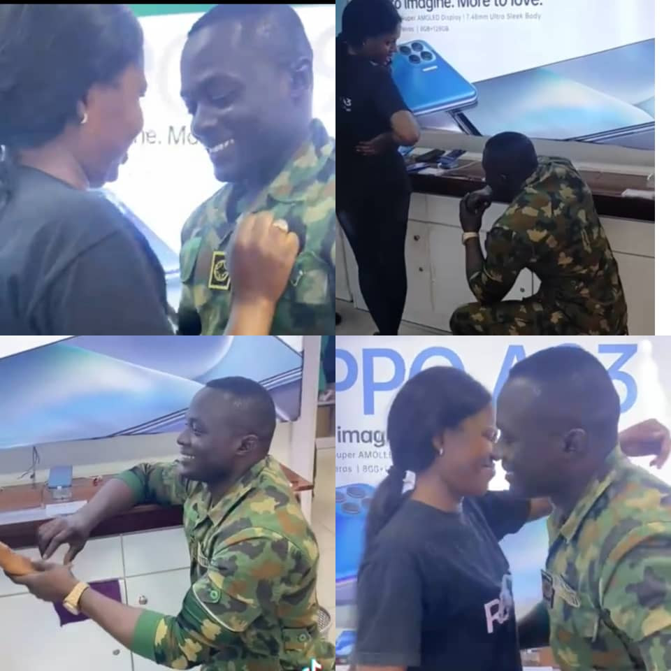 Nigerian soldier warms the heart of many after video of him proposing to  his girlfriend at her workplace was shared online