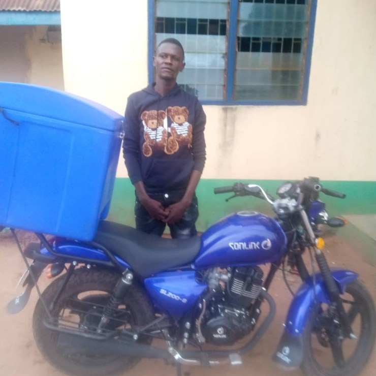 Dispatch rider who ran away with company motorcycle three days after employment arrested in Ogun (photo)