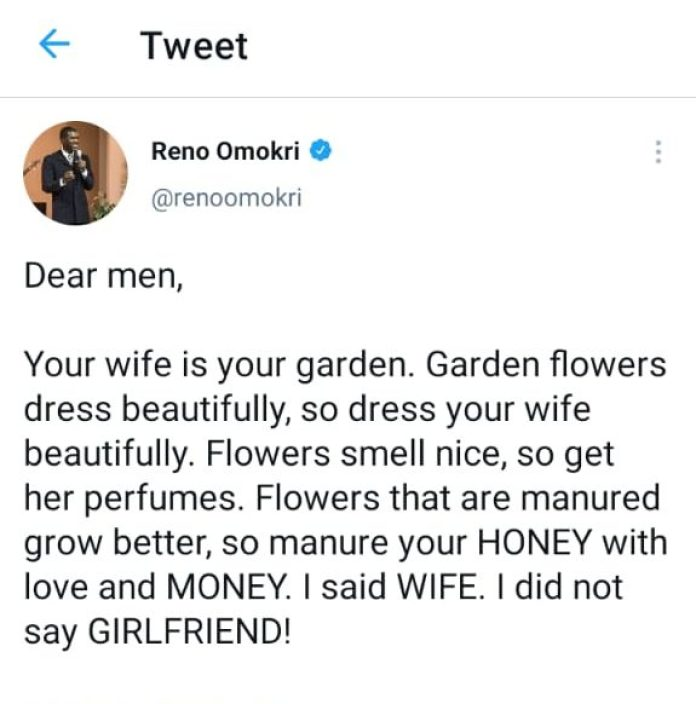 It Is Your Fault If Your Wife Is Not Beautiful - Reno Omokri Tells Men