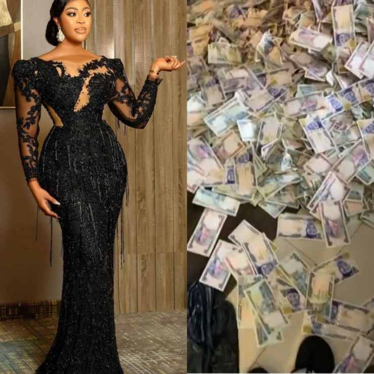 Actress, Mimi Orjiekwe shows off foreign and local currencies she was sprayed at her birthday party (video)