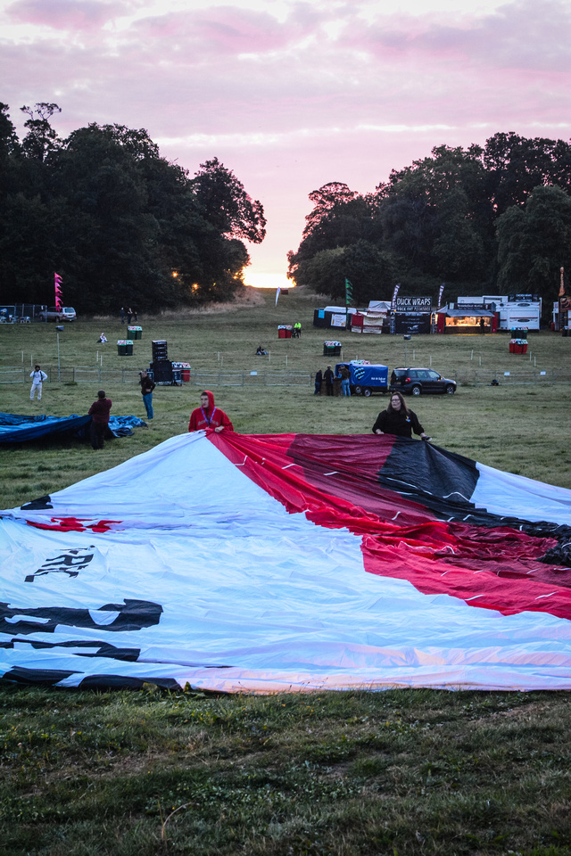 Hot air balloons being inflated at the Bristol Balloon Fiesta