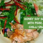 Honey Soy Salmon with Pear and Chilli Salad (Low calorie fish recipe)