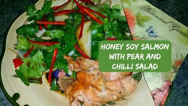 Honey soy salmon and pear and chilli salad