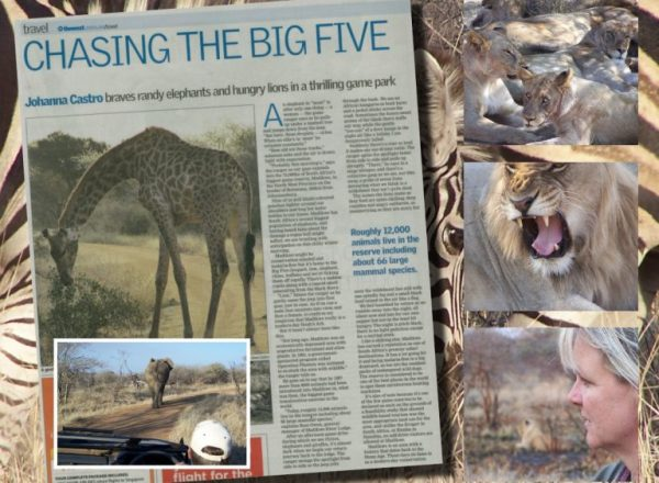 chasing the big five newspaper article, i'm on the radio