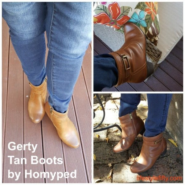 These ankle boots are in tan and they're called Gerty by Homyped. I love them for their comfort and style.