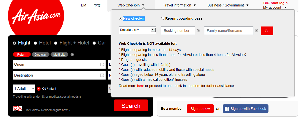 web check in is only available 14 days to 1 hour airasia ak qz fd pq z2 i5flights and 14 days to 4 hours airasia x d7 xj xt flights before