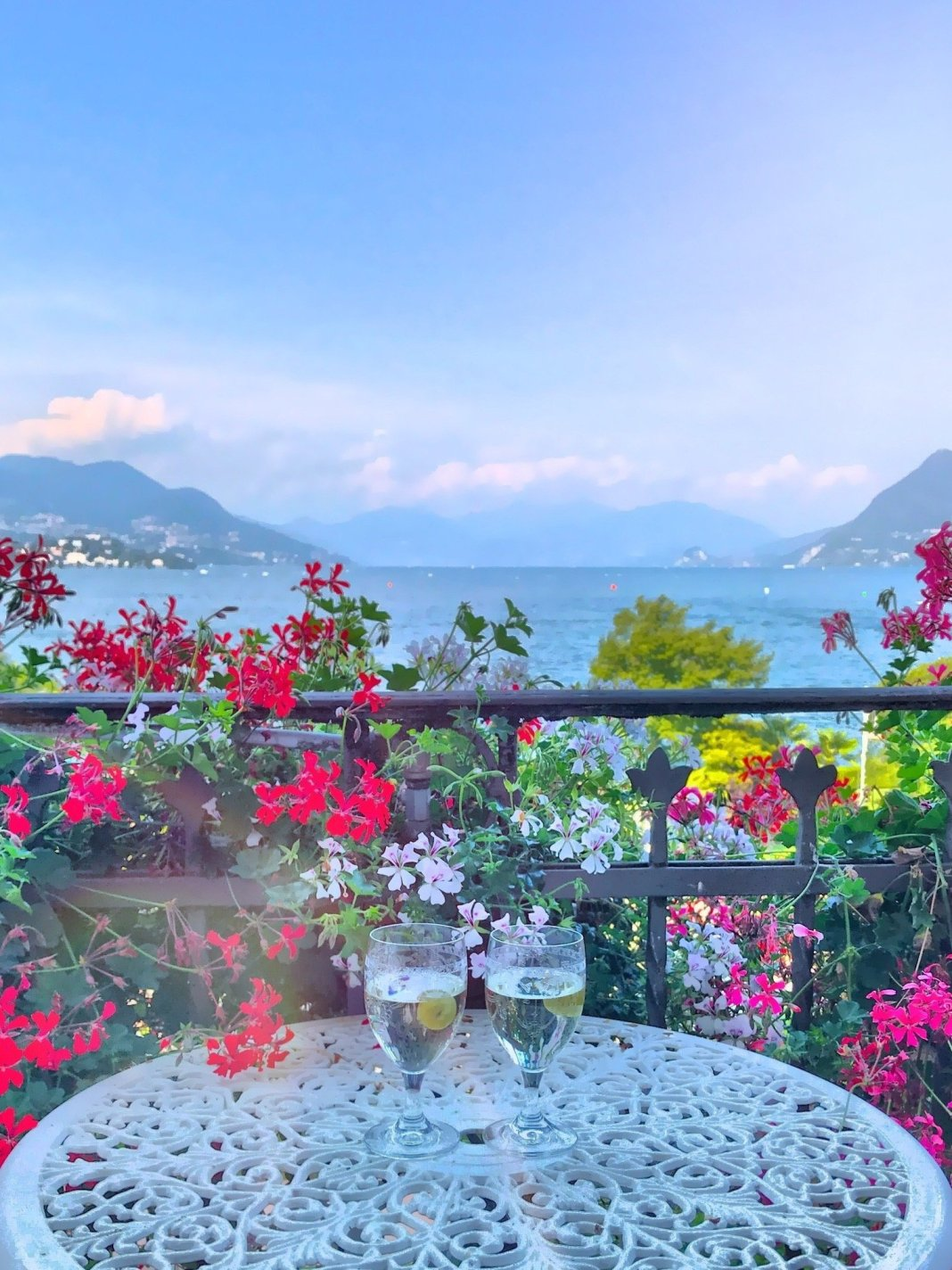 Room with a view. View from the balcony of the Grand Hotel Iles des Borromees in Stresa Italy