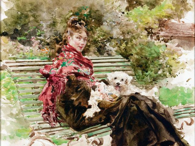 Giovanni Boldini, Al parco, 1872. Acquarello su carta, 387 x 307 mm