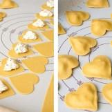 Ravioli a forma di cuore, perché è noto: noi italiani amiamo i carboidrati.