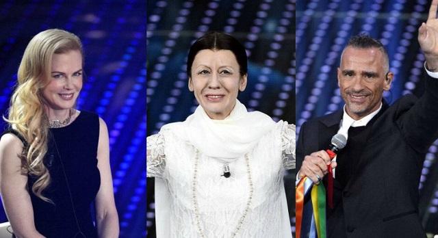 Sanremo 2016 seconda serata: Nicole Kidman, Carla Fracci (alias Virginia Raffaele), Eros Ramazzotti