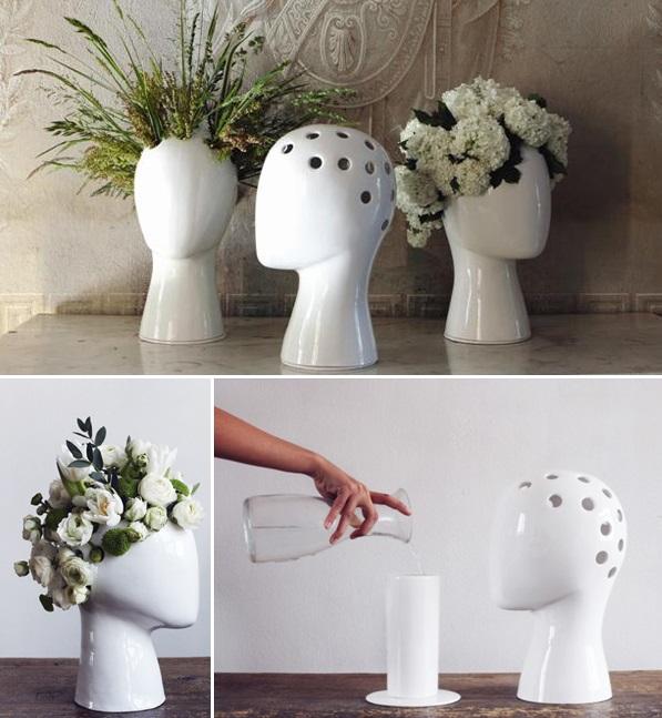 Wig Vase By Tania Da Cruz Hair Stylist Con Piante E Fiori