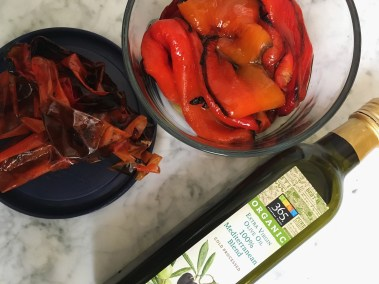 oven roasted red bell pepper with organic olive oil