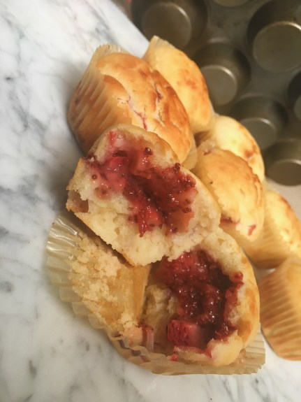 strawberry jam filled muffin in the center