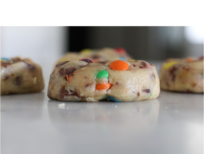 homemade chocolate chip and m&m's cookie dough