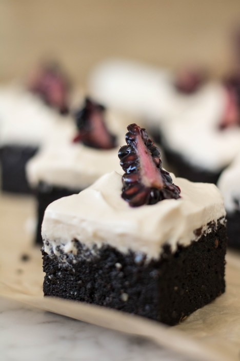 sweet potato brownie with chantilly frosting
