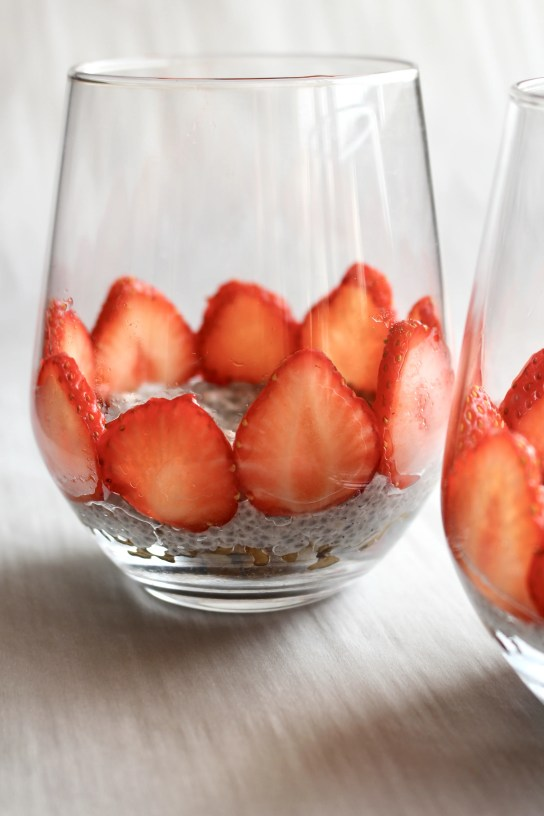 Chia seed parfait with strawberries