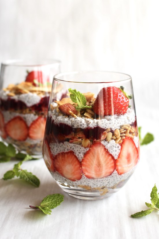 Chia seed parfait with strawberries and berry puree