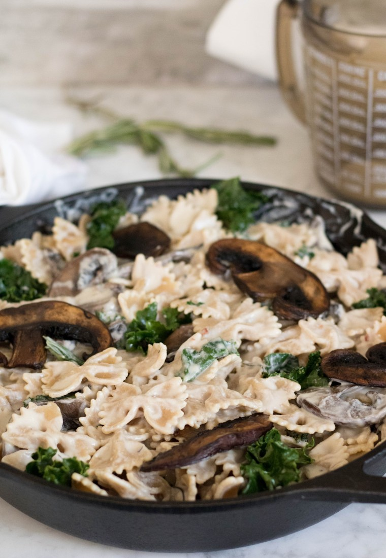 Vegan Creamy Mushroom & Kale pasta