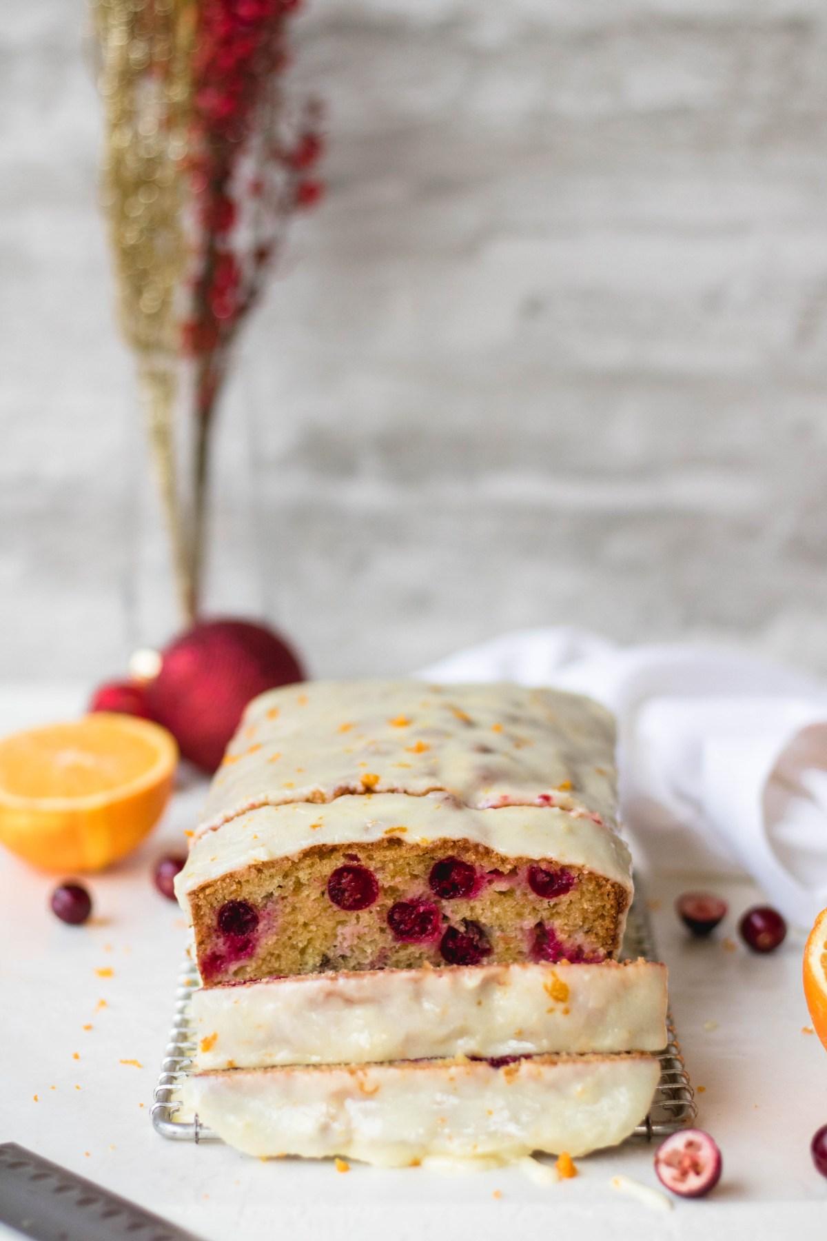 Cranberry orange loaf sliced