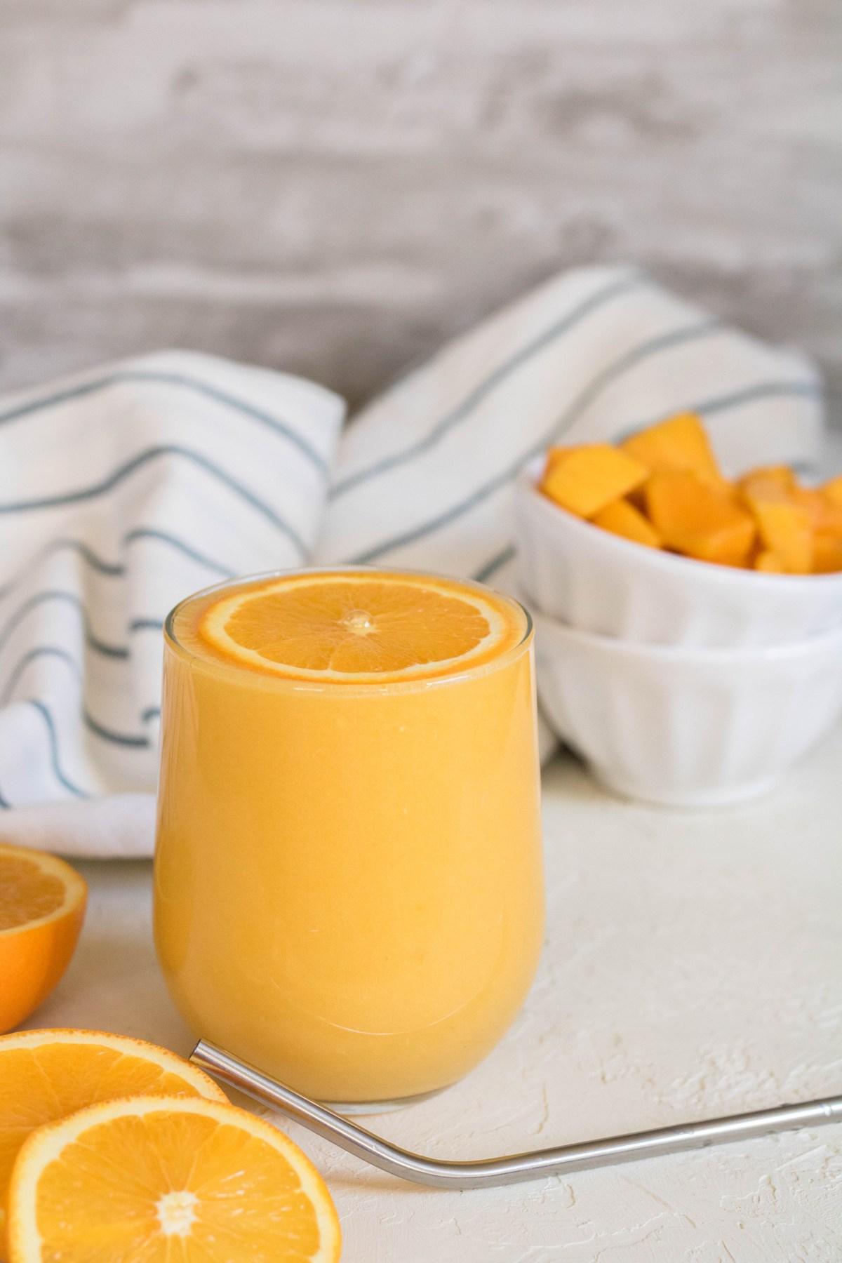 birds eye view shot of the imunity boosting orange mango smoothie