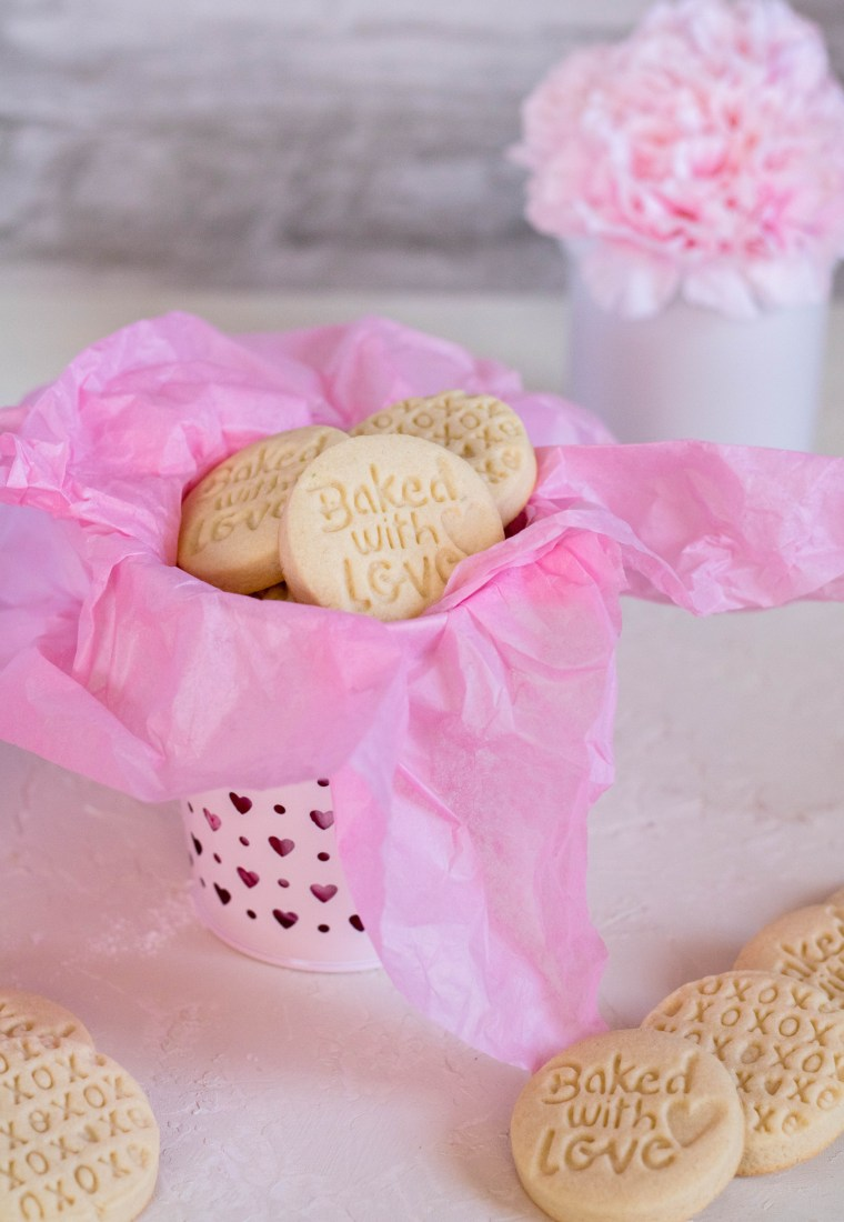 Valentine's day stamped shortbread cookies