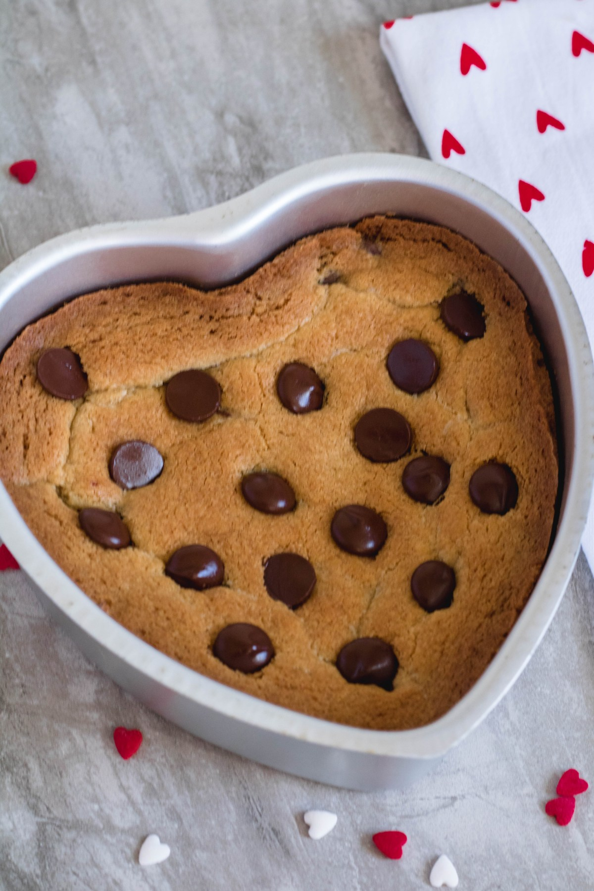 baked cookie cake for valentine's day