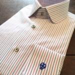 メンズオーダーシャツ,ストライプ柄,てんとう虫刺繍