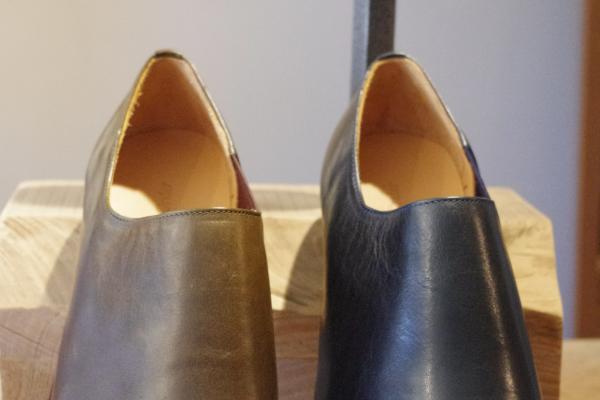 スリッポン靴|ネイビーグリーン
