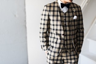 カジュアルウェディングスーツ|チェック柄新郎衣装
