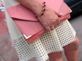 salmon top and cream skirt