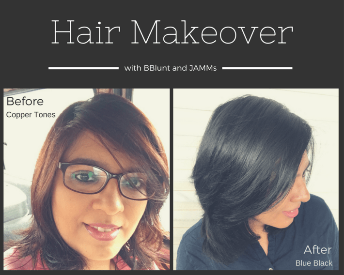 my hair makeover with BBlunt and JAMMs Blue Black Hair with BBlunt Salon Secrets High Shine Creme Hair Colour
