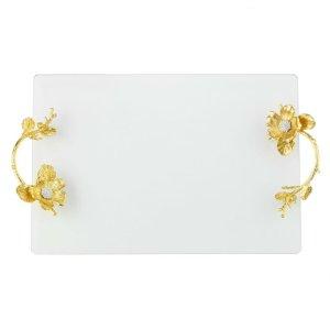 Olivia Riegel Gold Botanica Glass Tray - VT9000